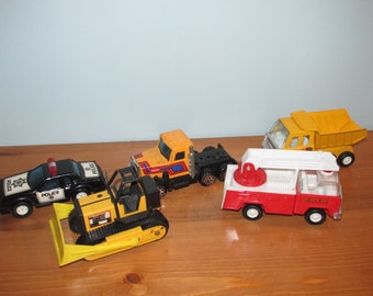 Vintage Toy Truck 1980's Lot of 5 Vehicles Fire Truck Police Car Semi Truck and more
