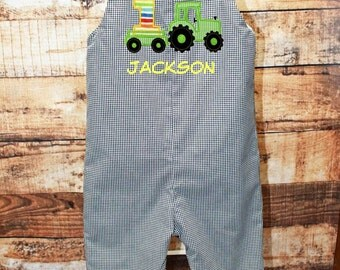 Tractor Birthday Jon,Boys Birthday Outfit,Tractor Birthday Outfit,Applique Embroidered Jon Shortall Longall