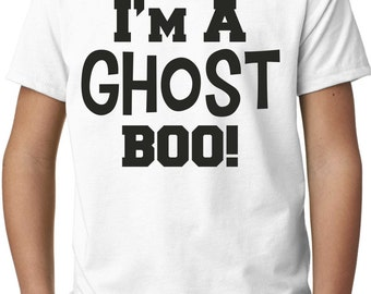 Boys Ghost Halloween Costume. Funny Youth halloween Shirts.  Halloween Shirt. Halloween t-shirt. I'm a ghost boo! Small, medium, large, XL