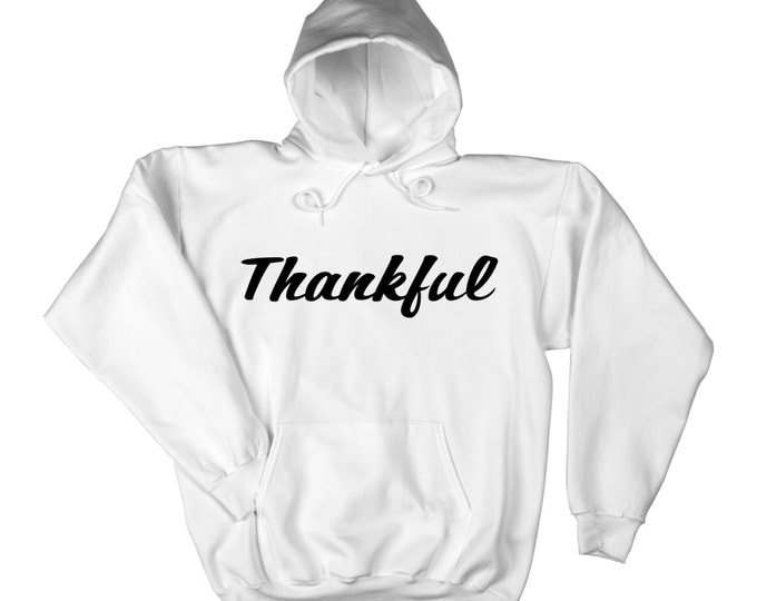 Thankful Pull over hoodie- Slouchy oversized- White Hoodie with pockets