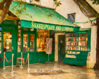 Shakespeare and Company Bookstore, Paris Decor Fine Art Print Book Shop Gifts for Readers Wall Art Oil Painting #vi126