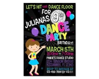 Dance Party Birthday Invitation