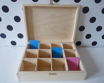 Wooden tea box, 12 compartments box, DIY box, unpainted wood tea box, treasure box, wooden storage box,box for decoupage, unfinished tea box