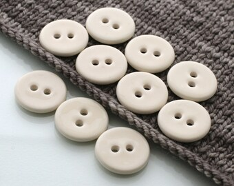 """10 Large Ivory-Yellow Buttons (27 mm / 1.1"""")"""