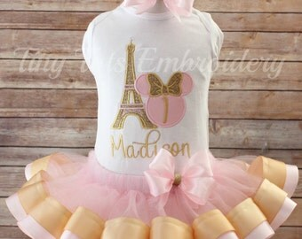 Minnie Mouse In Paris Birthday Outfit ~ Includes Top, Ribbon Tutu & Hair Bow ~ Customized In Any Colors Of Your Choice!