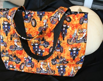 Motorcycle CATS PURSE. Orange and Black. One of a kind. Designed by Judy. Benefits MCAR