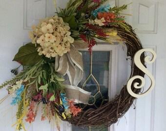 Front Door wreath, Summer wreath, Monogrammed wreath, door wreath, Summer Wreath, Hydrangea wreath, Mothers Day Wreath