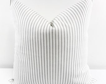 Grey Classic Stripe. Grey and  white Sofa Pillow Cover.Stripe Sham Cover.  Cushion Covers.Pillow Case.1 piece. cotton.Select size