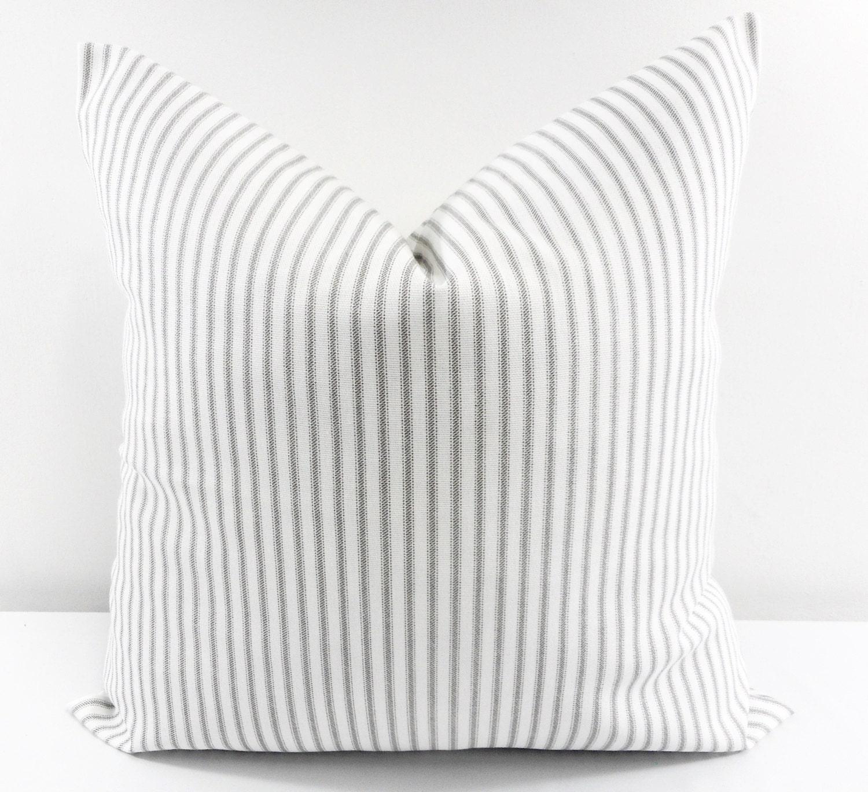 Grey Classic Stripe Grey and white Sofa Pillow Cover Stripe