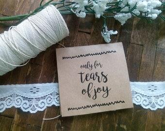 20 Tears of Joy Tissue Packs, Wedding Tissues, for tears of joy, happy Tears Packs, Rustic Design,Customized tissue packs
