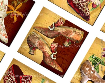 Digital Collage Sheet Vintage Ladies Shoes 1x1 inch size Square images for Scrapbooking Pendants Jewelry making Printables  263