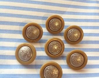 10 Pcs Shield Metal Buttons 1.70cm