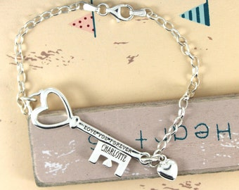Personalised Engraved Sterling Silver Key to My Heart Bracelet