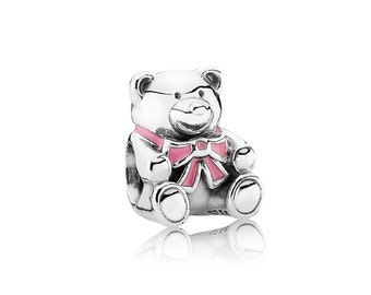 Sterling Silver S925 Pink Teddy Bear Charm Bead for all European Pandora Bracelet