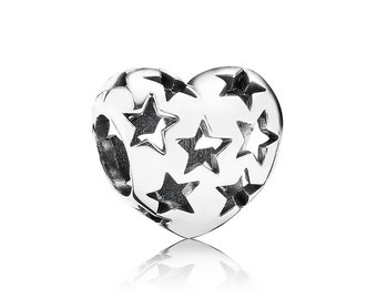 Sterling Silver S925 Starry Heart Charm Bead for all European Pandora Bracelet
