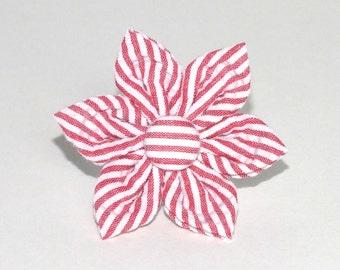 Red Seersucker Flower for Dog collar, Cat collar