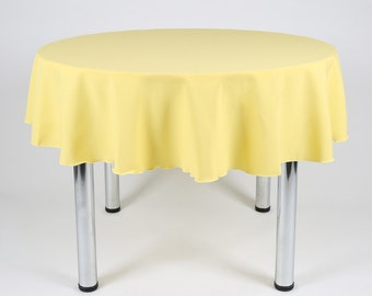 Lemon Yellow Round Tablecloth   Made From Polyester Fabric Not Cotton.