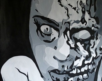 Print of Hold Me Baby Zombie,Zombie Painting,Black and White A4 size,Zombie Portrait,Zombie Apocalypse,Zombie gnomes,Zombie Art