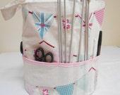 Knitting Bag, Crocheting Bag, Sewing Bag, Round Tote, Project Bag, Knitting Project Bag, Knitting Tote, Knitters Gift, Yarn Bag,