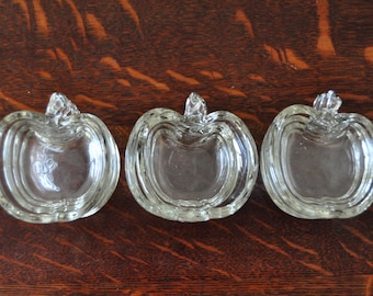 Vintage Mini Glass Apple Dishes, Set of 12, Individual Salts, Condiment Dishes, Nut and Candy Dishes