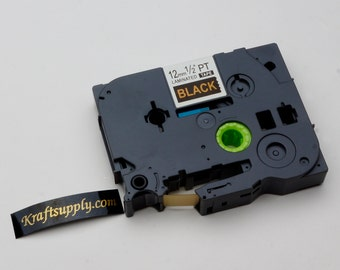 12mm (1/2) Laminated Gold on Black Tape for P-touch Printer (26.2')