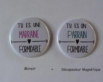 Duo Cadeau Parrain Marraine Formidables Décapsuleur Aimanté Miroir de Poche .