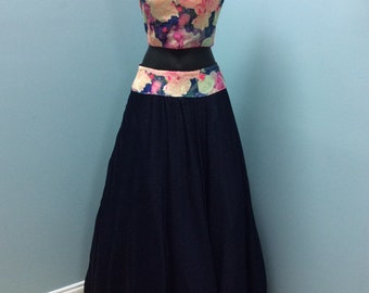 Beautiful Floral Navy Blue 2pc Prom Dress/Gown