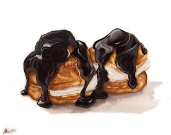 Profiteroles Print, Watercolor Print, Pastry Art, French Dessert, Kitchen Decor, Food Art, Chocolate Print, Kitchen Art