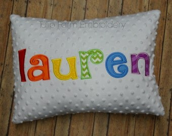 Name Minky Pillow Cover - Rainbow Pillow Cover - Custom Pillow, Appliqued Pillow Cover - Nursery Pillow Cover - White Minky Pillow