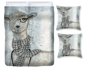 Bedding, Llama Bedding,  Comforter Cover, Duvet Cover  and Pillows,Llama with Camera Artsy