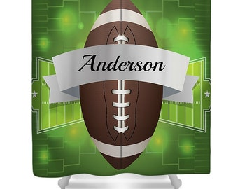 Personalized Football Shower Curtain  Custom Monogram  Football And Field