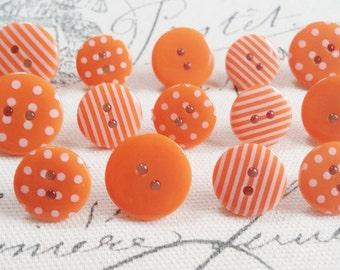Decorative Orange Patterned Button Thumbtacks, Thumb Tacks, Push Pins - Set of 14 Office Decor, Home Decor, Cork Board, Bulletin Board