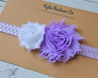 baby headband, lavender and silver shabby headband, purple headband