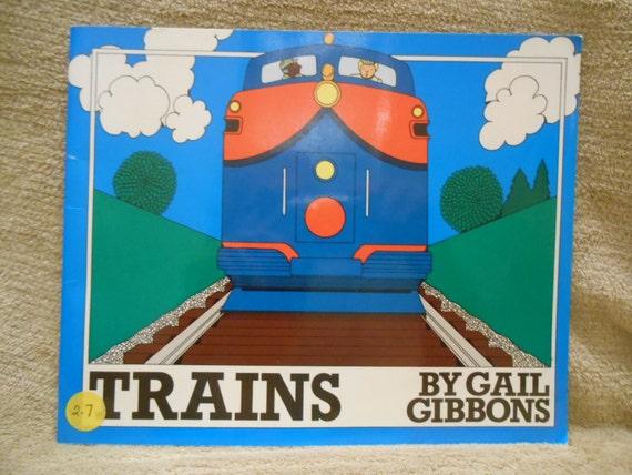 Trenes por Gail Gibbons  libro Vintage sobre por CannadyCreations