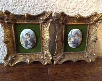 HULDAH CAMEO PORTRAITS  Miniture Frame Portraits,  Porcelain Frame Cameo, Portraits of French Ladies