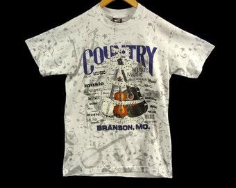 Vintage 1993 Country Music Branson Missouri Tourist Tee - Small - 50 50 Shirt - 90s Clothing - Hank Williams - Johnny Cash - Waylon Jennings