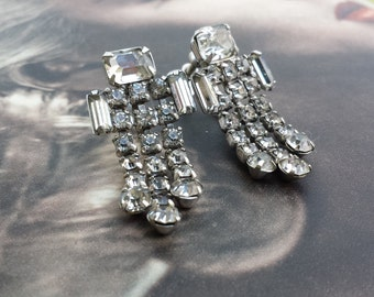 Vintage 1950's Silver Dangle Baguette and Emerald Cut Rhinestone Waterfall Wedding Screw Back Earrings