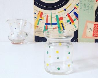 Vintage milk jug and sugar bowl, 1960s polka dot