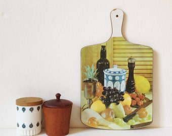 Vintage chopping board, mid century kitsch print formica cutting board, retro kitchen cheese board