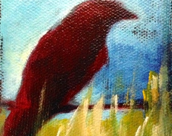 Red Crow Raven Original Art Painting