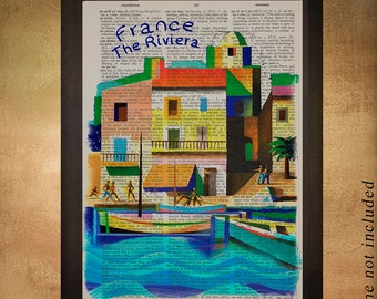France Riviera Vintage travel poster dictionary art print, French Riviera Decor Cannes France Wall Art da1191