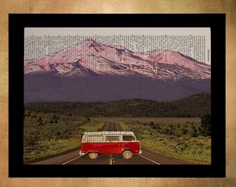 Vanlife Volkswagen Bus Dictionary Art Print, Retro Vanagon Camper Van Life Camping Wall Art Home Decor Red da958