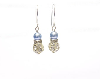 Earrings, Swarovski element light blue pearl earrings, swarovski element earrings , pearl earrings , blue earrings , bridal earrings