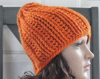 HANDMADE Crocheted Orange Winter Cap. Winter Hat. Warm Hat. Wool Hat. Women's Hat.