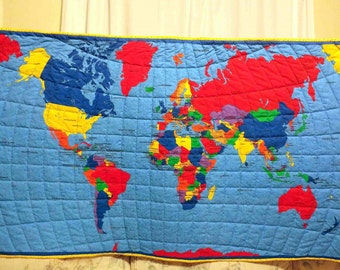 Unique World Map Bedding Related Items Etsy