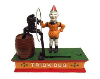 Cast Iron Trick Dog Piggy Bank Vintage 1960's