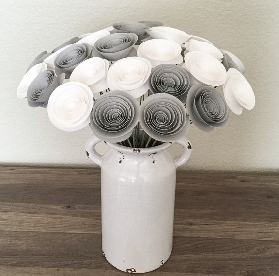 Paper Flowers Gray And White Wedding Centerpieces