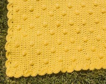 Crochet Baby Blanket | Lemon Bobble Blanket