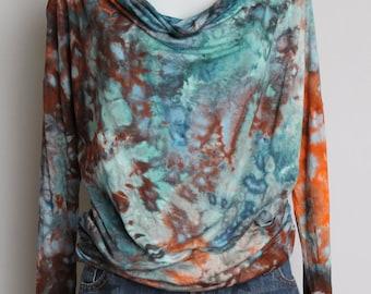 Tie dye cowl neck long sleeve tunic blouse - Arizona Sky crinkle - Size Small