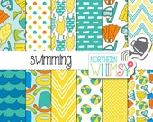 """Summer Digital Paper - """"Swimming"""" - pool seamless patterns - snorkel, flipper, pool toy & swim suits in blue and yellow - commercial use"""